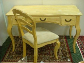 WHITEWOOD Queen Anne Style Computer Desk And Chair