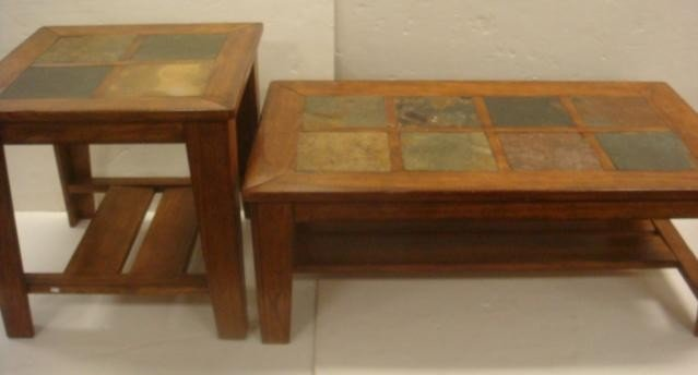 146 Walnut And Slate Top Coffee End Tables Lot 0146 - Slate Top Coffee And End Tables CoffeTable