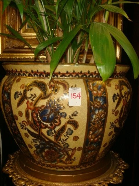 154: Handpainted Ceramic Planter with Plant: