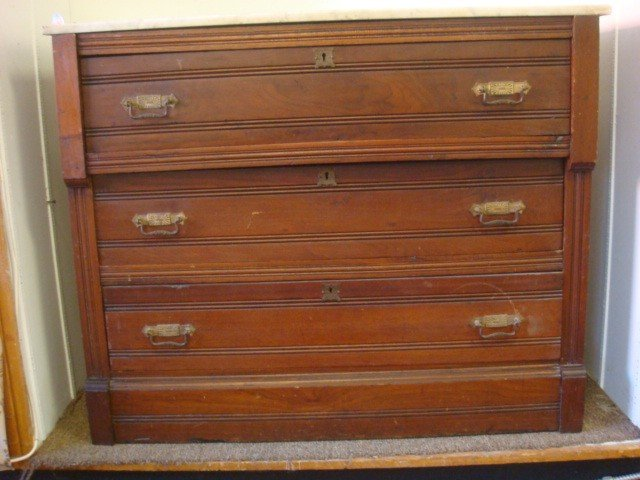 165: Marble Top Eastlake Walnut Chest: