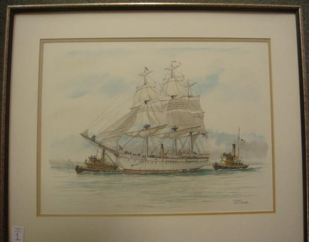 "1: CASEY HOLTZINGER, Watercolor, ""USS CHESAPEAKE"":"