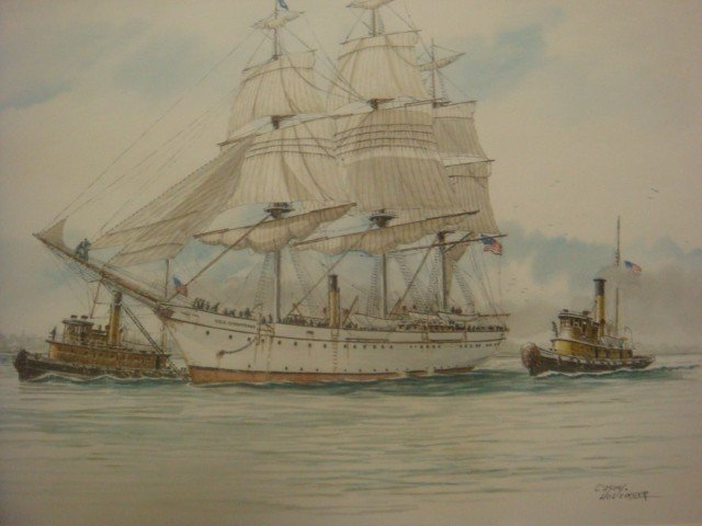 "1: CASEY HOLTZINGER, Watercolor, ""USS CHESAPEAKE"": - 2"