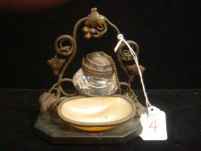 4: Bronze Victorian Mother of Pearl Grape Motif Ink Wel
