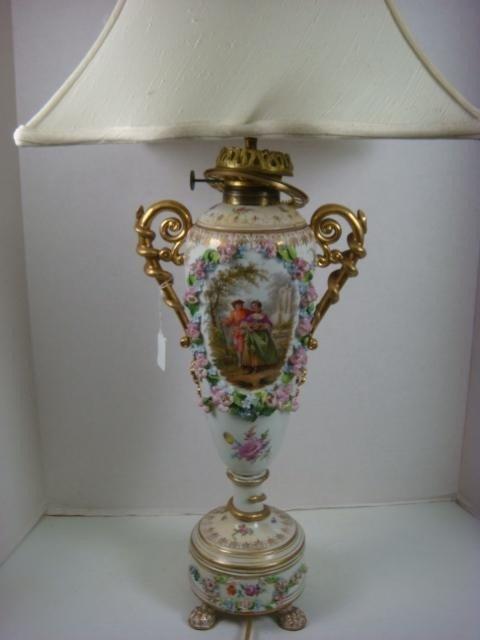 6: DRESDEN Converted Porcelain Oil Lamp: