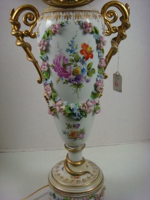 6: DRESDEN Converted Porcelain Oil Lamp: - 3