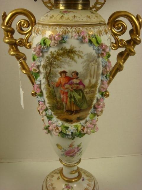 6: DRESDEN Converted Porcelain Oil Lamp: - 4