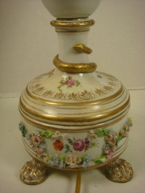 6: DRESDEN Converted Porcelain Oil Lamp: - 5
