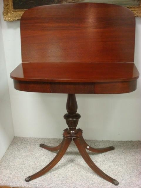 12: MERSMAN Fold Over Duncan Phyfe Mahogany Game Table: