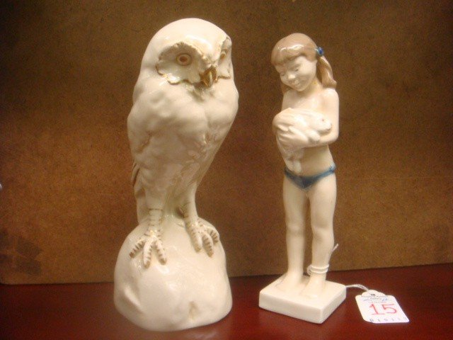 15: ROYAL DUX Owl and ROYAL COPENHAGEN Girl Figurines: