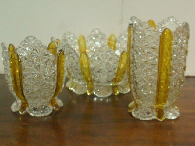 16: Large Ten Piece Set Amberetta Berry Bowls and Vase: - 2