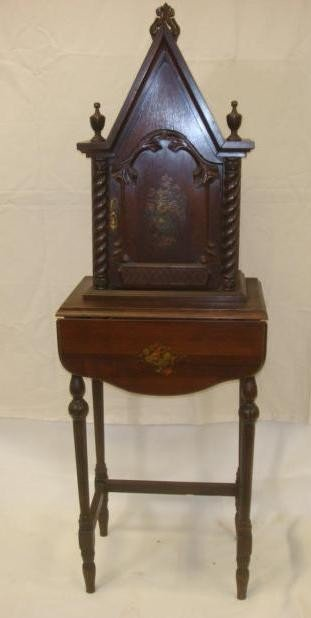 17: 1920's Mahogany Telephone Cabinet on Stand: