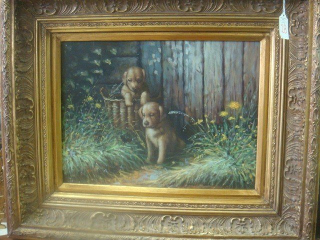 18: Oil on Board Lab Puppies in Wide Gold Frame: