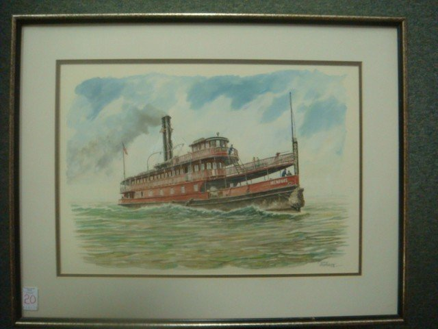 "20: CASEY HOLTZINGER, Watercolor, ""Ferry MEMPHIS"":"