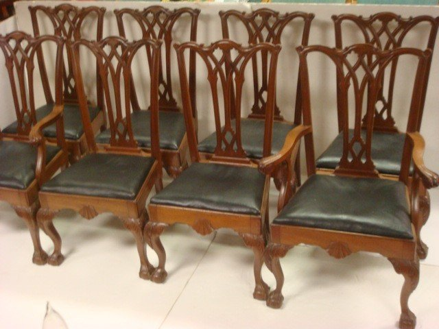 23: Set of Eight Chippendale Style Dining Chairs: