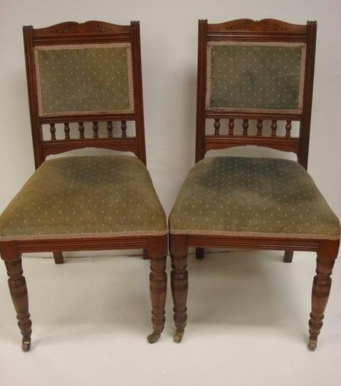 127: Pair of Line Carved Upholstered Victorian Chairs: