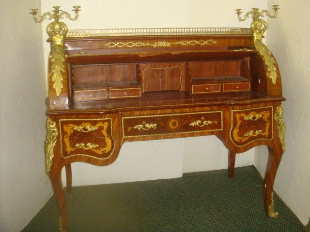 129: Louis XV Style Marquetry Inlaid Cylinder Desk: