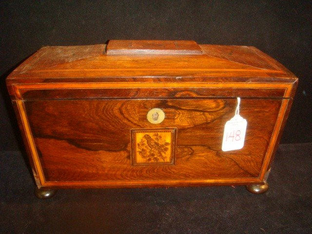 148: Inlay Marquetry Rosewood Teabox with Micro Mosaic:
