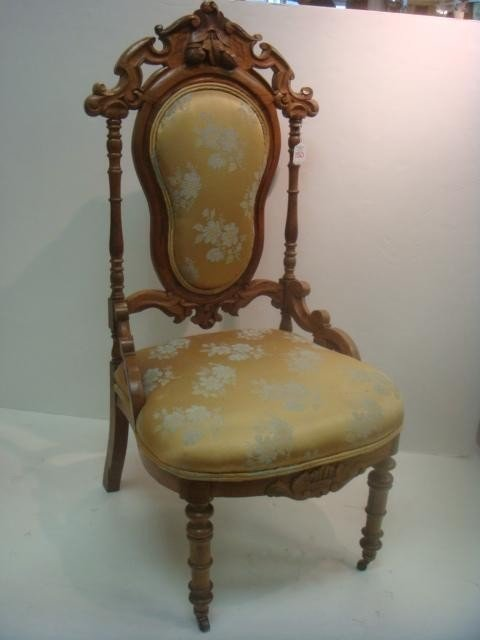 150: Victorian Shield Back Chair with Carved Crest: