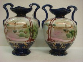 Pair Of Hand Painted NIPPON Double Handled Vases:
