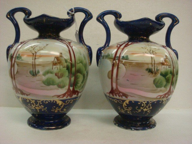 154: Pair of Hand Painted NIPPON Double Handled Vases: