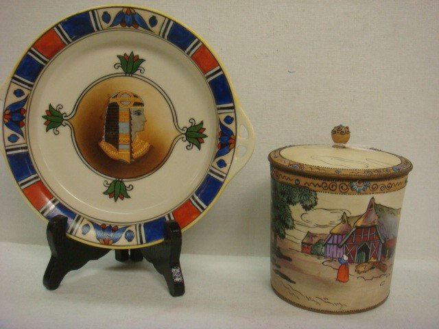 155: Hand Painted NIPPON Lidded Jar and Egyptian Dish: