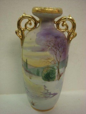 Hand Painted NIPPON Double Handled Vase: