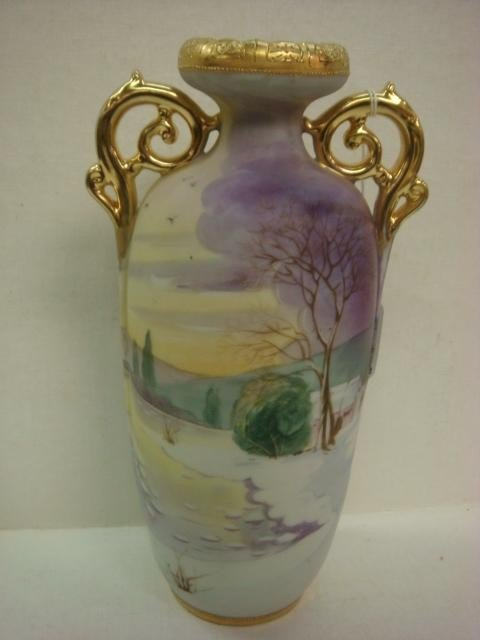 157: Hand Painted NIPPON Double Handled Vase: