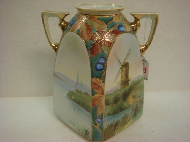 158: Hand Painted NIPPON Double Handled Squared Vase: