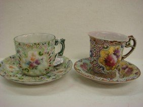 Two Asian Signed Enameled Cups And Saucers: