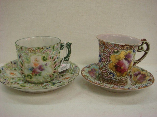 160: Two Asian Signed Enameled Cups and Saucers: