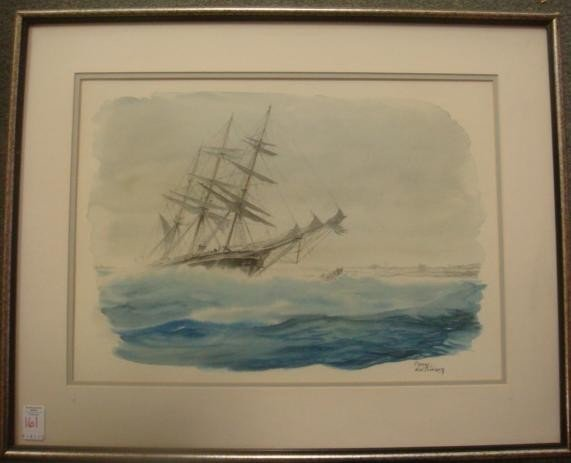 "161: CASEY HOLTZINGER, Watercolor, ""Shipwreck"":"