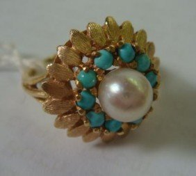14KT Ladies Ring With Turquoise And Cultured Pearl