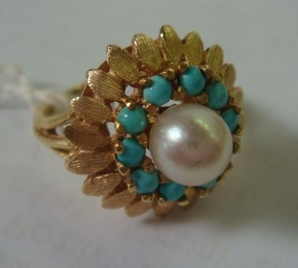 163: 14KT Ladies Ring with Turquoise and Cultured Pearl