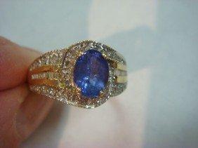 14KT Tanzanite And Diamond Ladies Ring: