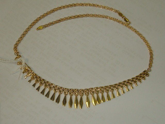 167: Ladies 14KT Yellow Gold Bib Necklace: