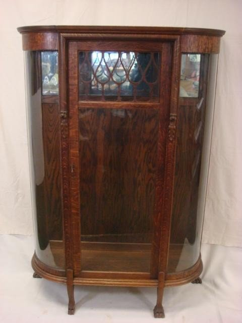 175: Paw Foot 5 Tier Oak China Cabinet: