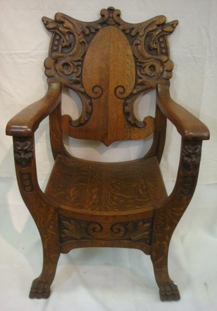 179: Large Carved American Oak Arm Chair with Dragons: