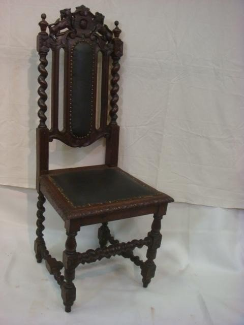 180B: Renaissance Revival Spiral Carved Oak Chair: