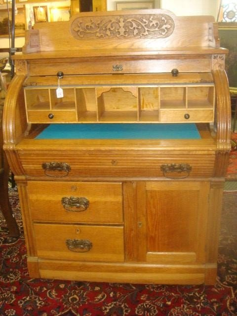 180D: Three Drawer Single Door Oak Barrel Roll Top Desk