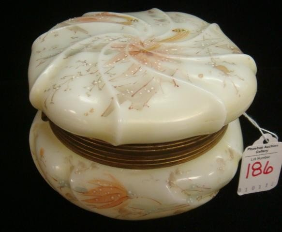 186: Wave Crest Handpainted Round Dresser Box: