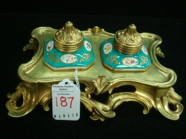 187: Brass Inkstand with Two Handpainted Porcelain