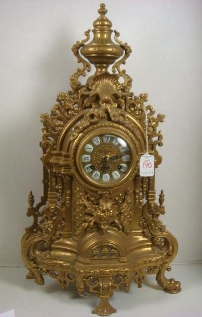 190: Ornate German Reticulated Brass Mantle Clock: