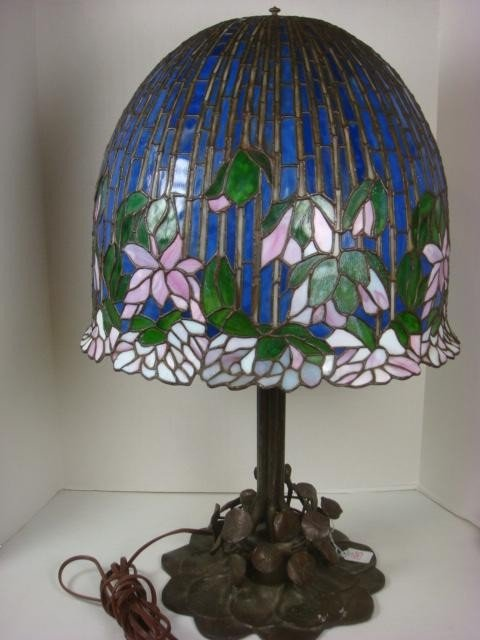 195: Floral Stained Glass Lamp on Metal Lily Pad Base: