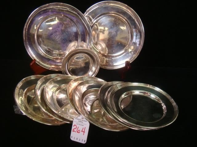 264: Eleven Assorted Sterling Silver Plates: