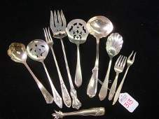 313 Ten Assorted Sterling Silver Serving Pieces