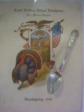 Fort Monroe Sterling Souvenir Spoon And 1936 Menu: