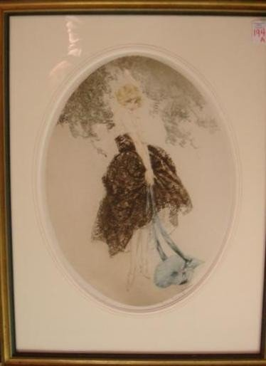 194A:: LOUIS ICART Pencil Signed Print, Blue Bonnet Gir