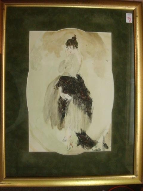194B:: Watercolor in the Style of LOUIS ICART: