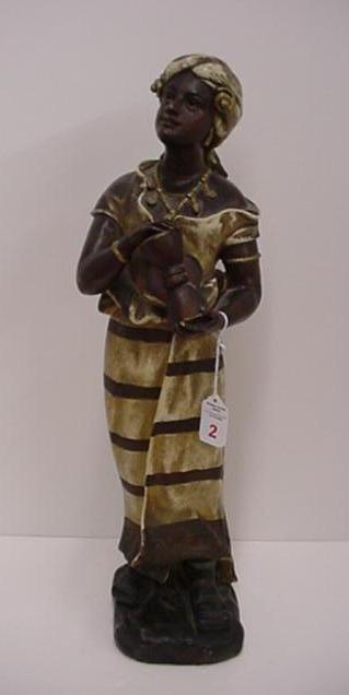 2: Early Century Handpainted Chalk Nubian Princess: