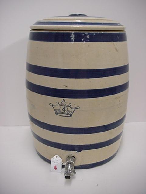 4: 4 Gallon Blue Stenciled Stoneware Water Cooler: